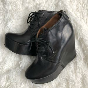 Sam Edelman Genuine Leather Black Valin Wedges 7